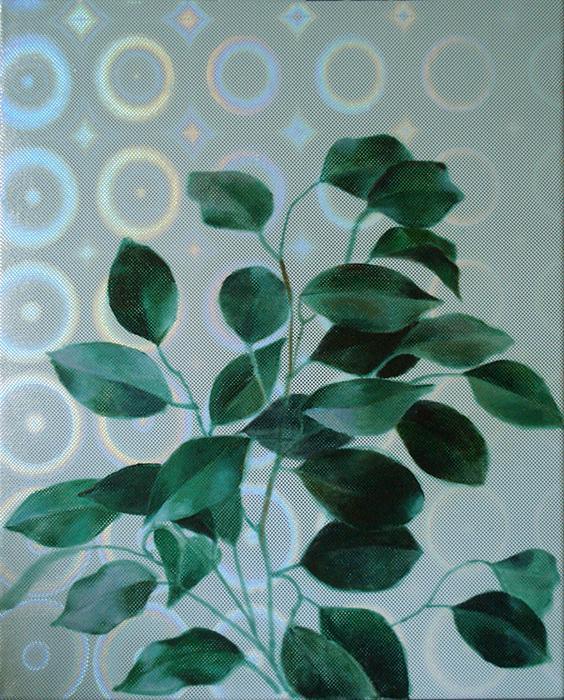 olieverf schilderij ficus op hologram stof