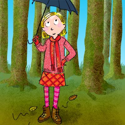 herfst bos meisje met paraplu