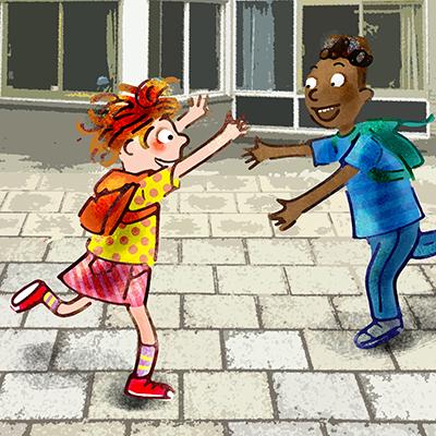 blije ontmoeting op het schoolplein