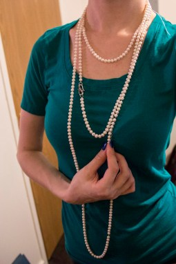 Pearls make everything classy. Like- hey! taking out the trash, like a lady!