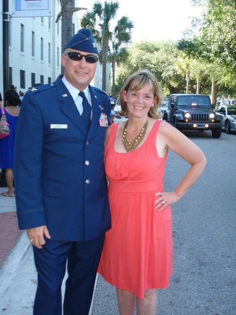 Cathy and her husband visiting his alma mater, The Citadel