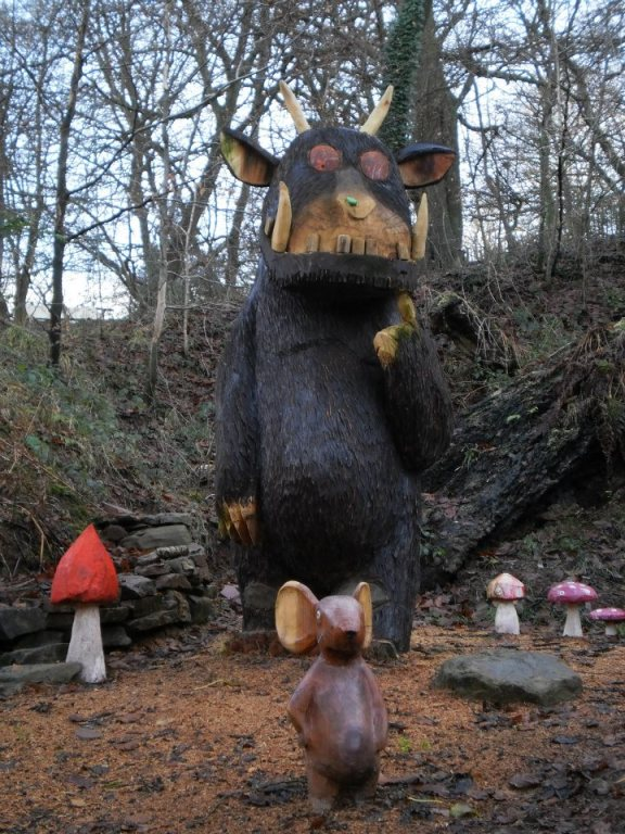 Gruffalo and mouse wood sculptures