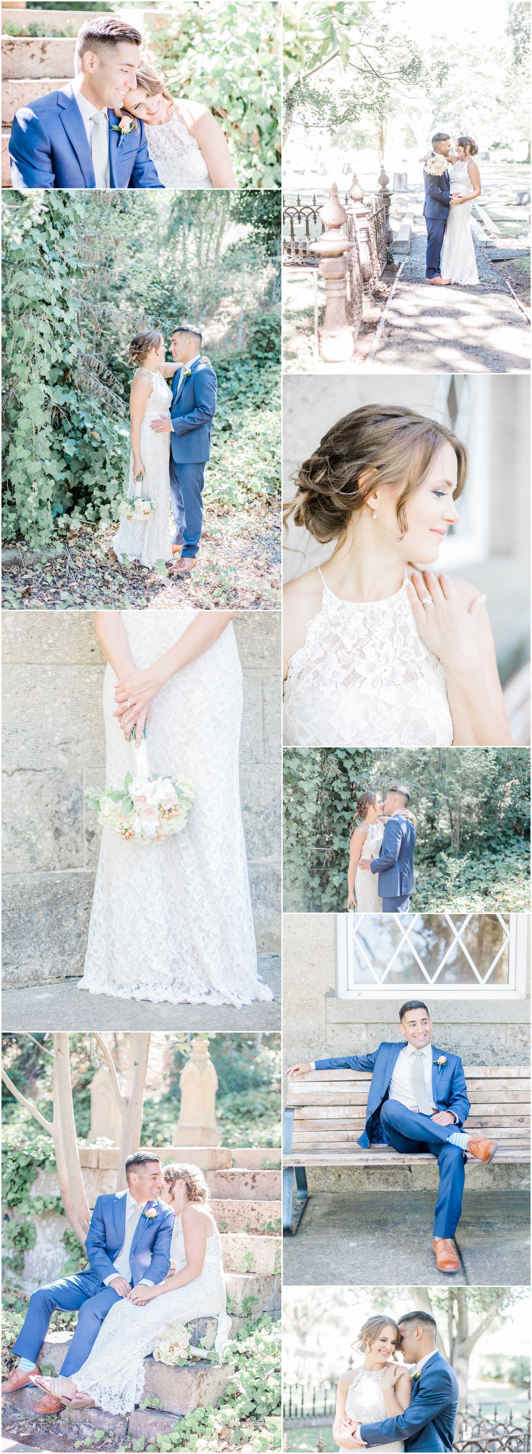 Wedding Photography, Wedding Photographer, Lodi Photographer, Sacramento Photographer, Outdoor portraits of a bride and groom in an old churchyard