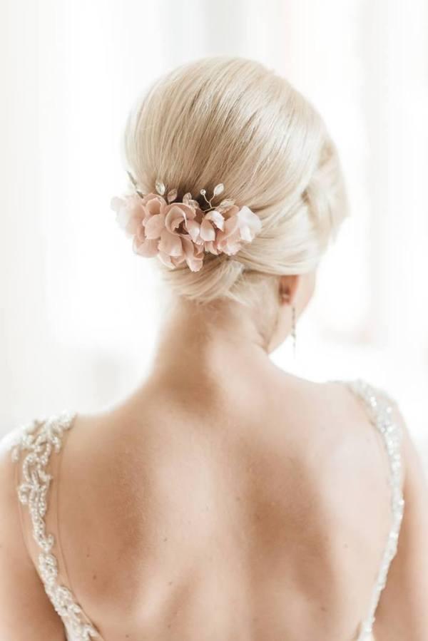 blush silk flower bridal hair comb
