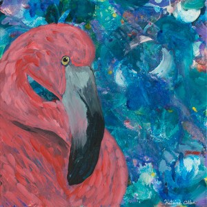 """""""The Stillness Within,"""" an abstract acrylic painting of a flamingo by Katrina Allen. Visit katrinaallenart.com to see more paintings and order prints."""