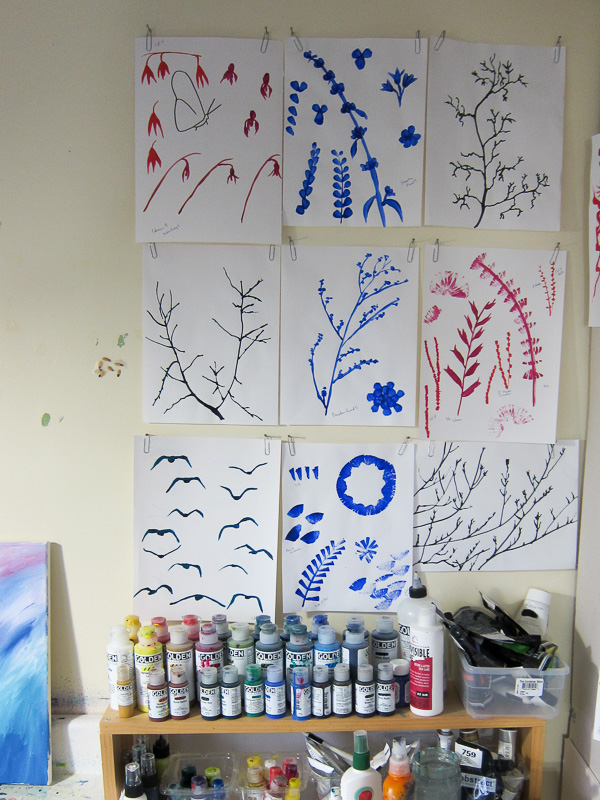 A wall of sketches on display above my painting table. See the paintings created from them at katrinaallenart.com