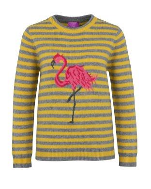 Der Flamingo ist teilweise von Hand gestrickt