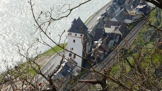 Sankt Goarshausen, südl. Altstadt und Viereckiger Turm von oben