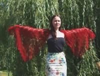 Red lace shawl | Katrix knits