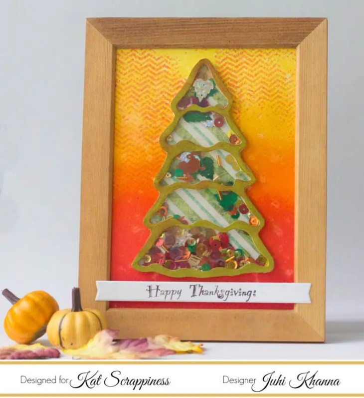 Fall Shaker Card with Kat Scrappiness Christmas Tree Die