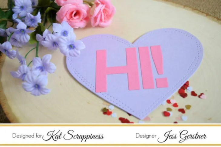 Conversation Heart Card by Jess Gerstner featuring Kat Scrappiness Wonky Wavy Stitched Hearts