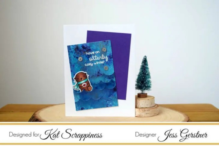 Lawn Fawn Winter Otter Card by Jess Crafts featuring Kat Scrappiness Dies