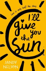 I'll give you the sun by Jandy Nelson cover. bright ellow with painted sun.
