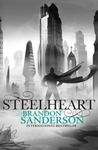 Steelheart by Brandon Sanderson cover. Hero standing in front of steel city.