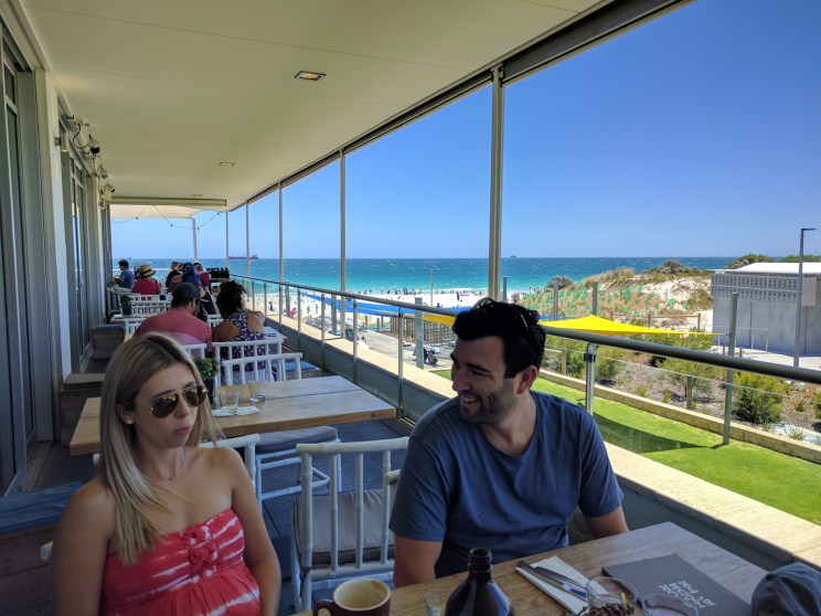 view of the ocean from a restaurant balcony