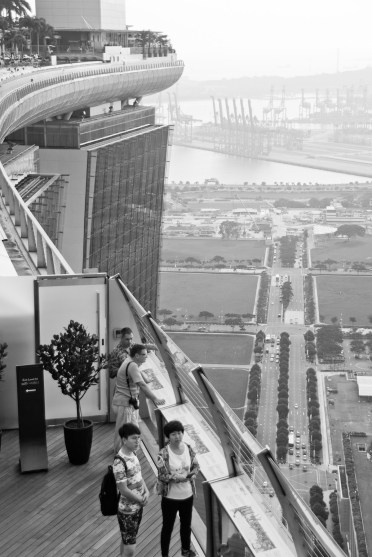 view of Singapore and bay from atop hotel