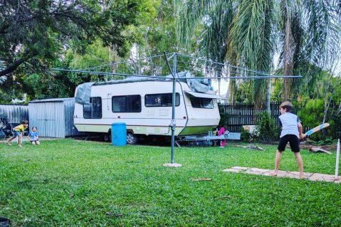 backyard with caravan