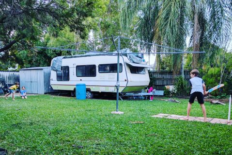 backyard with caravan