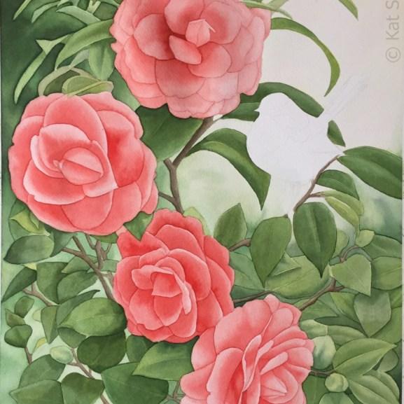 Step Nine of Superb Wren and Camellias