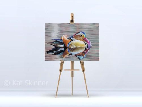 Mandarin Drake Hung on Easel, Art by Kat Skinner