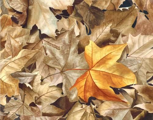 Autumn Leaves, Series 2, Watercolor Art by Kat Skinner