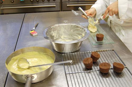 Biscuit chocolat, crème pistache