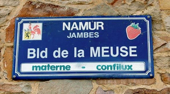 Plaque de rue à Namur