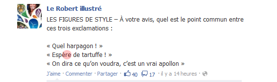 Capture de la page du Robert sur Facebook