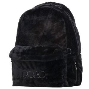 Polo – Τσάντα Πλάτης Kitana Μαύρο Γούνινο 2020 9-01-125-02 + Δώρο Διορθωτική Ταινία Edding