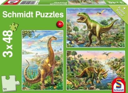 Schmidt Spiele – Puzzle 3 in 1 Δεινόσαυροι 48/48/48 Pcs 56202