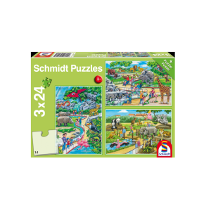 Schmidt Spiele – Puzzle 3 in 1 A Day At The Zoo 24/24/24 Pcs 56218