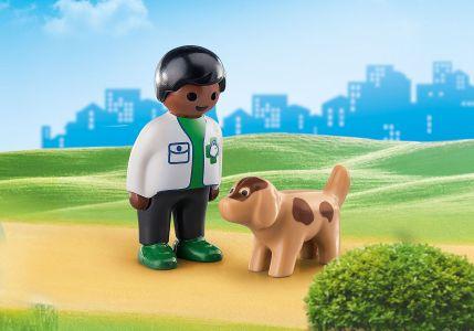 Playmobil 1.2.3 – Κτηνίατρος Με Σκυλάκι 70407