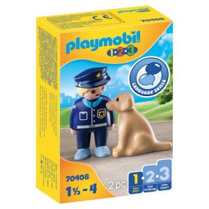 Playmobil 1.2.3 – Αστυνομικός Με Εκπαιδευμένο Σκύλο 70408
