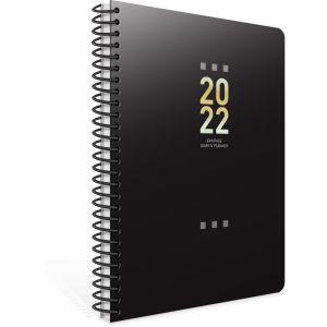 Unipap – Ημερήσιο Ημερολόγιο Σπιράλ Tivoli 2022, 12×17 Μαύρο 622-1712-90