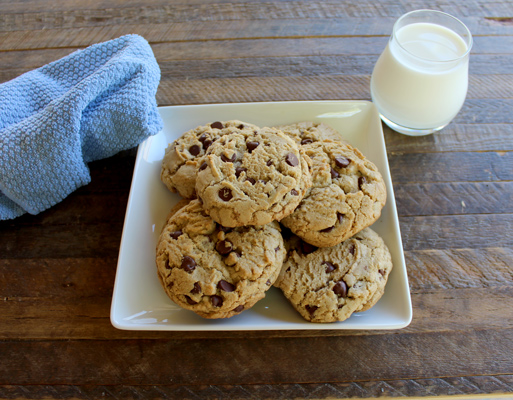 Giant chewy chocolate chip cookies