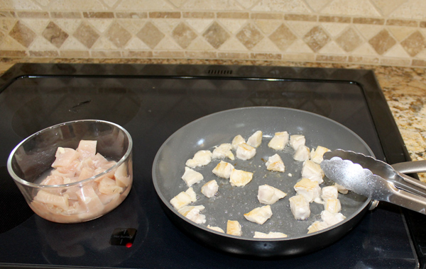 Cook the chicken in batches