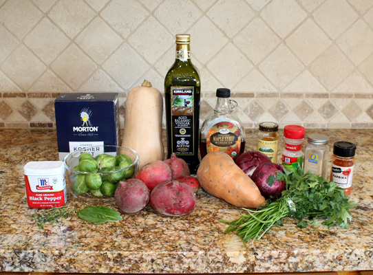 ingredients for fall roasted vegetables with balsamic syrup