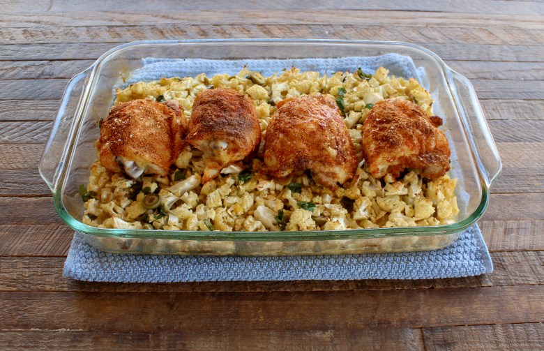Easy baked chicken with cauliflower rice