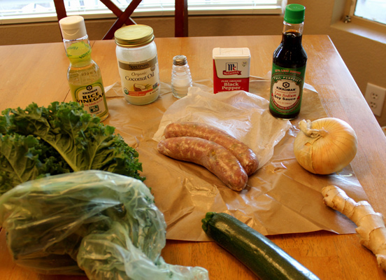 ingredients for Italian sausage with kale
