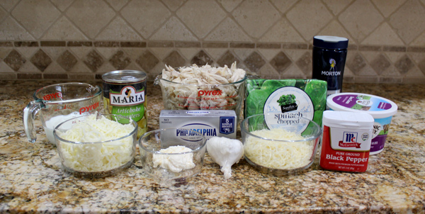 ingredients for spinach and artichoke chicken casserole