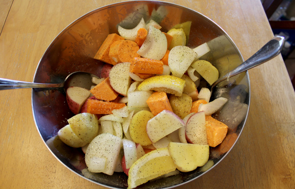 toss the vegetables to coat