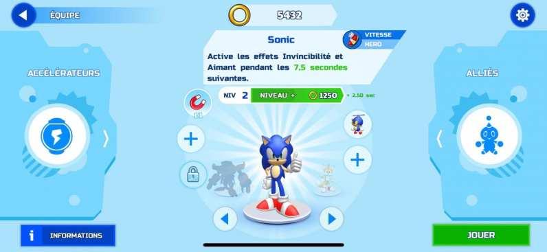 Sonic Runners Adventure Test iOS My Geek Actu Menu