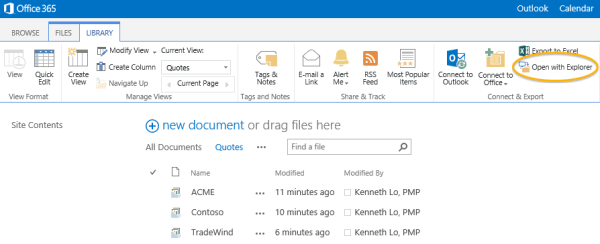 Office 365 Open With Explorer