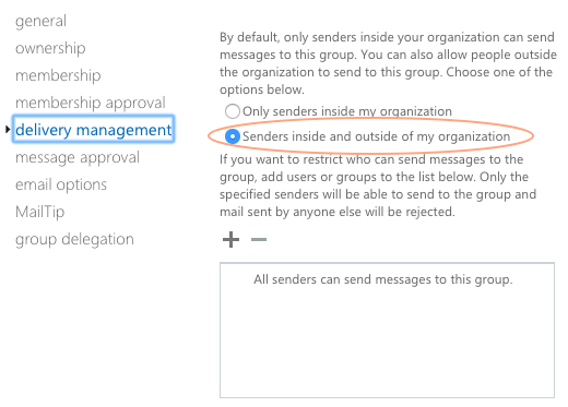 Office 365 Exchange Distro Group - Delivery Management