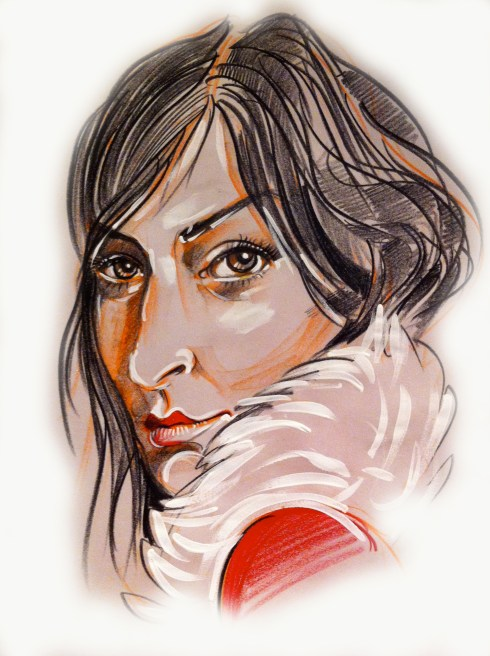 "Phoebe Philo 18"" x 24"" China marker, acrylic, fx on newsprint"