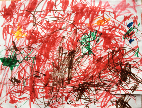 Beautiful and free.  And fearless.  Created by my nephew Henrik during his summer holiday. Age 22 months.