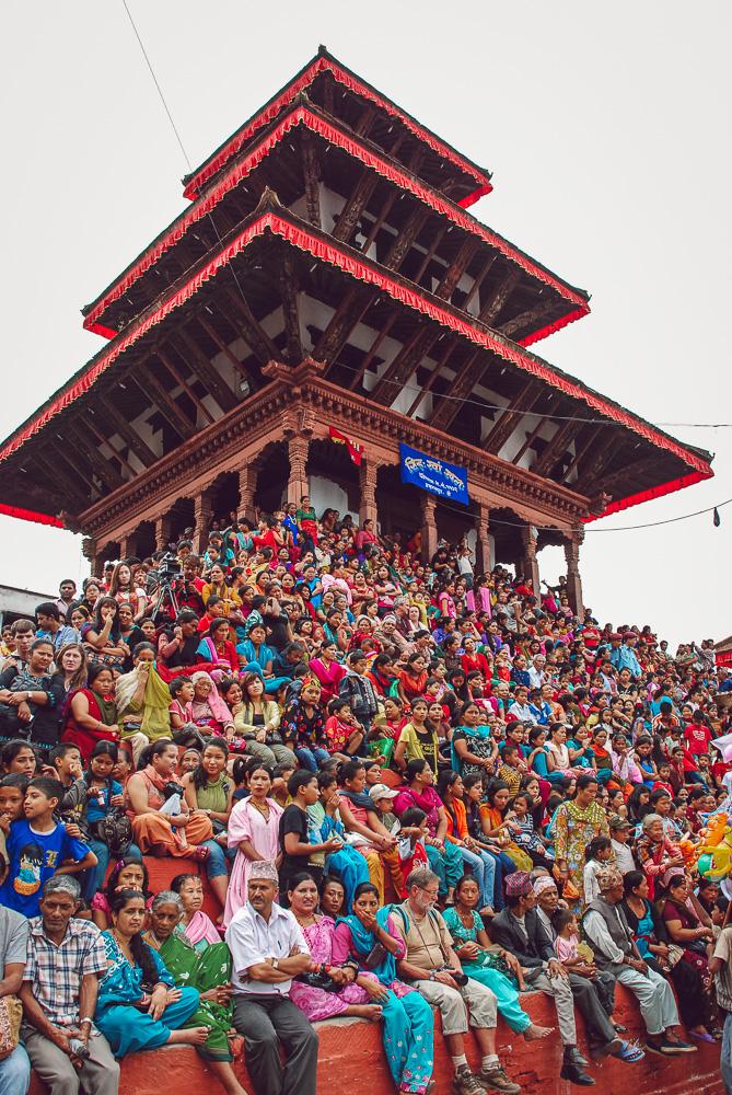 Celebrating Indra Jatra in Kathmandu.