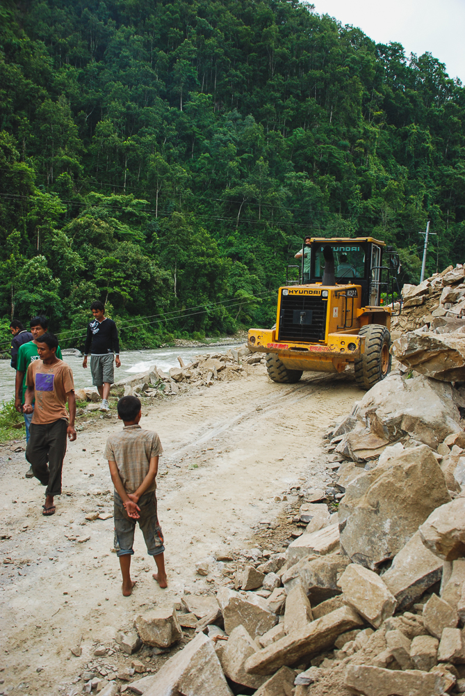 The landslide that blocked our road to Kathmandu in Nepal