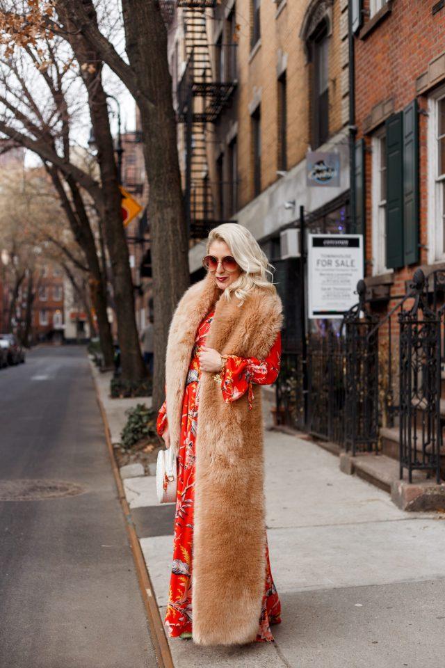 Brahmin Bag, DVF Maxi Dress, DVF Bethany Cinch Sleeve Maxi Dress, KatWalkSF, Kat Ensign, NYFW, West Village, Faux Fur Vest,