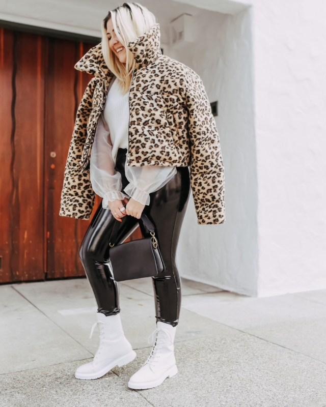 San Francisco blogger KatWalkSF wears the Spanx Faux Patent Leather Leggings